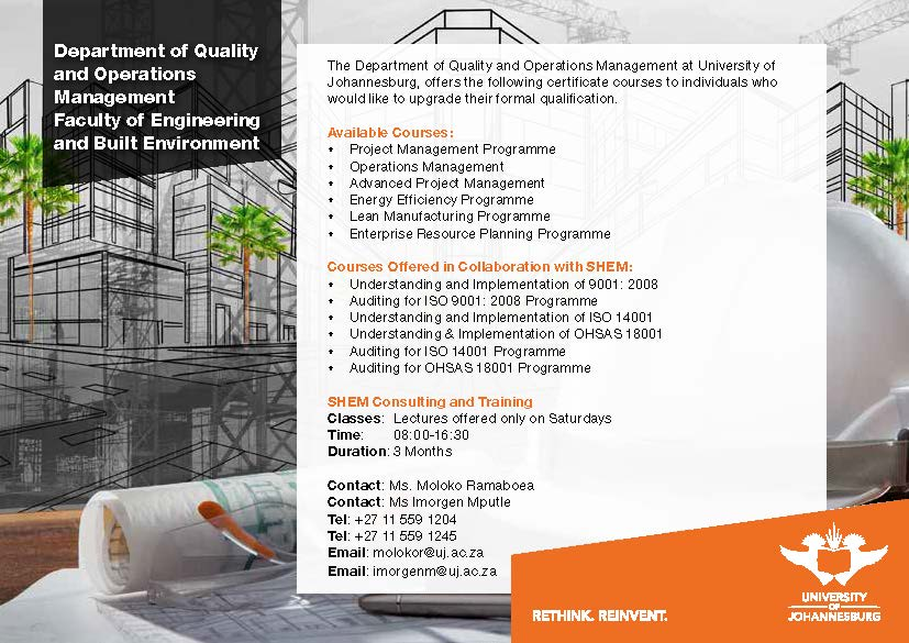 Certificates In Management Faculty Of Engineering And Built