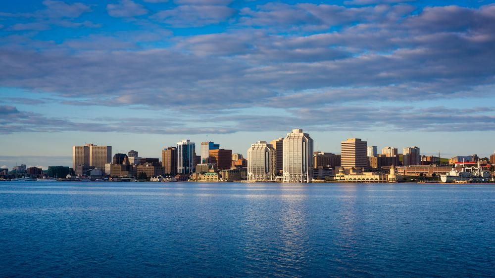 View of downtown Halifax from Dartmouth with the waterfront and the Purdy's Wharf. Halifax, Nova Scotia, Canada.
