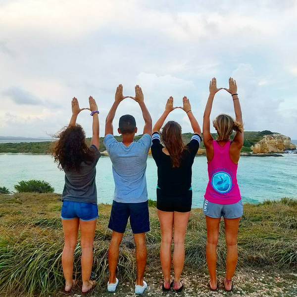 A group of University of Miami students on a study abroad trip to Puerto Rico.