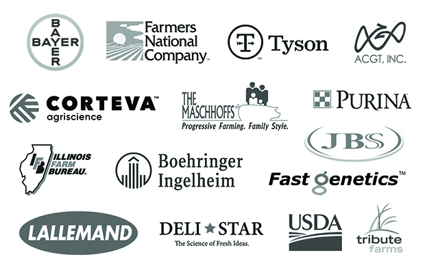 Corporate Logos: Bayer, Deli Star, Tyson, AGCT, Inc., Farmers National Company, Corteva Agriscience, Tribute Farms, Illinois Farm Bureau, Boehringer Ingelheim, Fast Genetics, The Maschhoffs, Lallemand, United States Department of Agriculture, Purina, JBS