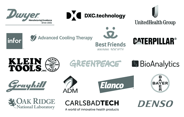 Corporate Logos: Dwyer Instruments, DXC Technology, United Health Group, Infor, Advanced Cooling Therapy, Best Friends Animal Society, Caterpillar, Klein Tools, Greenpeace, BioAnalytics, Grayhill, ADM (Archer Daniels Midland), Elanco, Bayer, Oak Ridge National Laboratory, Carlsbad Technology and Denso.