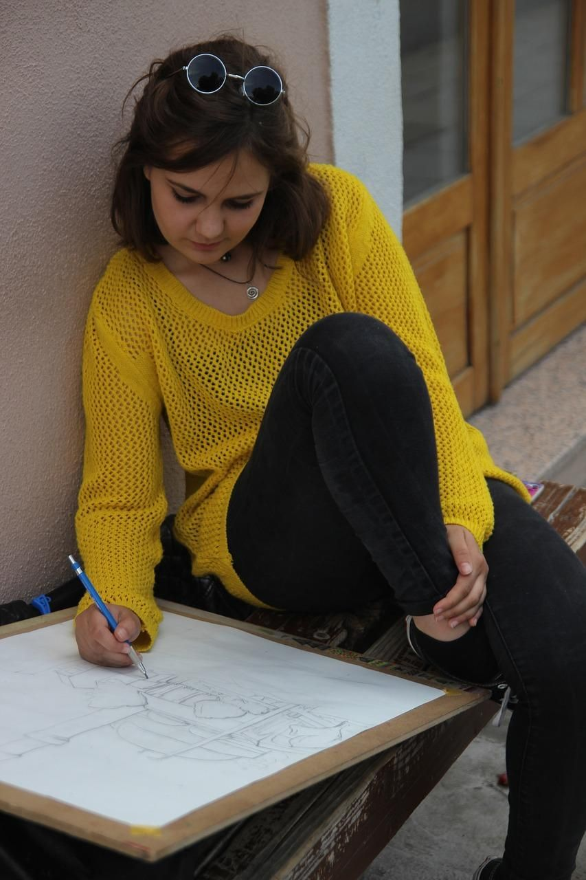 girl, drawing, nature